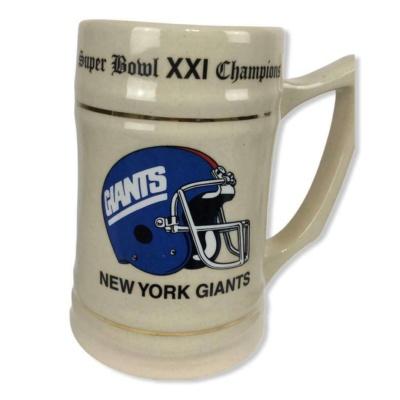 Vintage NFL Giants Super Bowl 1986 XXI Champions Stein Beer New York