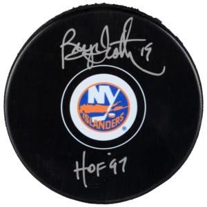 "Bryan Trottier New York Islanders Autographed Hockey Puck with ""HOF 97"" Inscription"