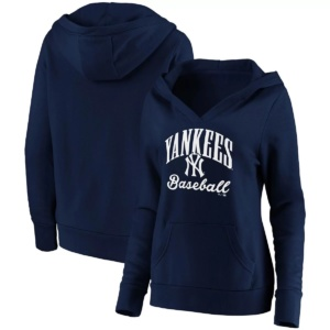 Women's Fanatics Branded New York Yankees Victory Script Crossover Neck Pullover Hoodie