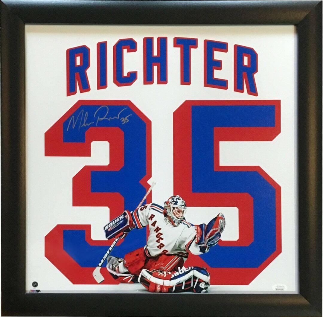 Mike Richter signed #35 Jersey photo Framed New York Rangers 1994 Cup