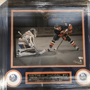 Mathew Barzal New York Islanders Fanatics Authentic Autographed Goal Between The Legs