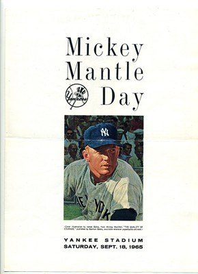 MICKEY MANTLE DAY BROCHURE-1965