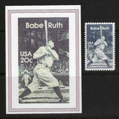 BABE RUTH - USPS BASEBALL CARD - U.S. POSTAGE STAMP