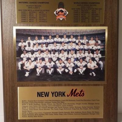 NY Mets 1986 World Series Championship Plaque