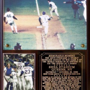 New York Mets 1986 World Series Game 6 Plaque Miracle Mets