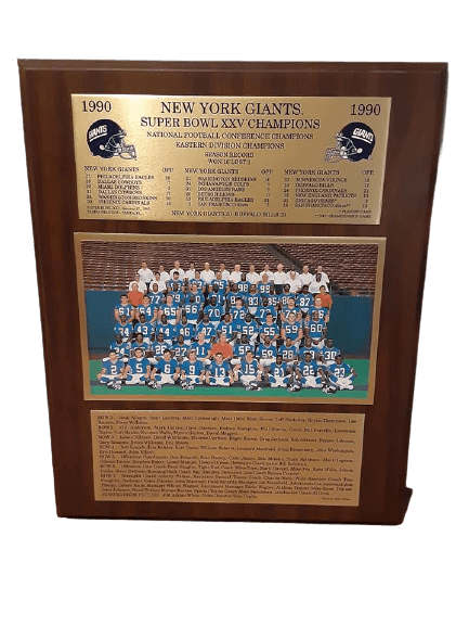Super Bowl XXV 1990 NY Giants Championship plaque.