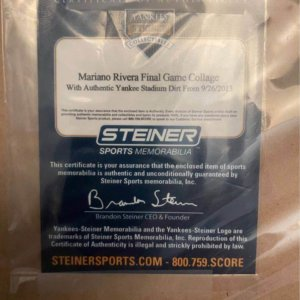 Authentic Steiner Sports Mariano Rivera Final Game Collage with Dirt from 2013 game