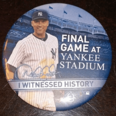 DEREK JETER NEW YORK YANKEES FINAL HOME GAME RETIREMENT BUTTON