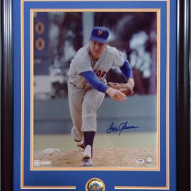 TOM SEAVER SIGNED PHOTO FRAMED METS COIN MINT AUTOGRAPH