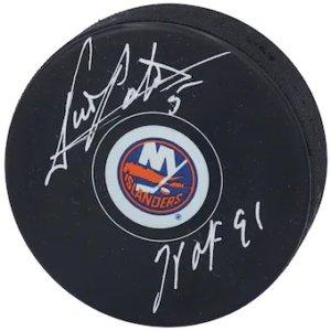 "Autographed New York Islanders Denis Potvin Fanatics Authentic Hockey Puck with ""HOF 91"""