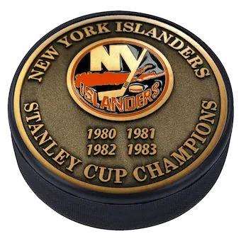 New York Islanders 4-Time Stanley Cup Champions Medallion Collection Puck