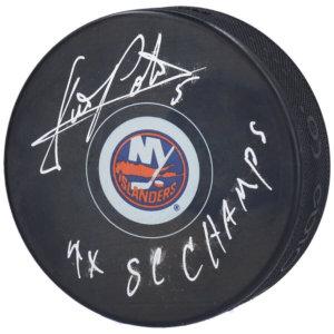 "Denis Potvin New York Islanders Fanatics Authentic Autographed Hockey Puck with ""4X SC Champs"""